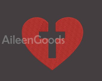Cross Heart Embroidery  design 8 Size INSTANT download machine embroidery