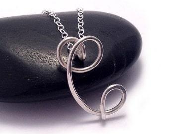 Letter C Initial Necklace | Sterling Silver Letter Necklace | Gold filled & Rose Gold Filled Calligraphy Script Necklace | Cursive Initial