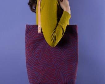 Tote #1  | Canvas Leather Tote Bag, For Her, Shoulder Bag, Handbag, Carryall, Colorful, Hand Printed, Pattern, Unique, Periwinkle, Burgundy,