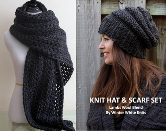 SCARF & HAT SET, this set includes both the hat and the scarf, knit long scarf, knit beanie hat, hat and scarf, soft and easy to wear
