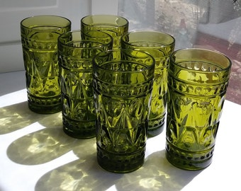 Vintage Colony Park Lane Glasses - Set of 6 Avocado Green Glasses by Indiana Glass - 10 oz - 1950's-70's