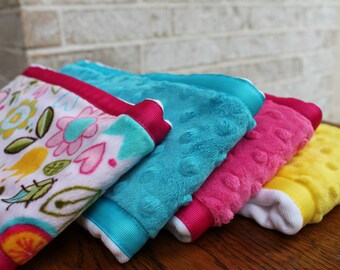 Pick 3 Minky Burp Cloths - Flower Print Minky and Coordinating Pink Grossgrain Ribbon edging Hot Pink, Turquoise, Yellow Dimple Dot Minky