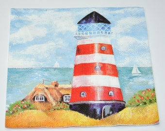 Lighthouse Paper Napkins for Decoupage, Paper Crafts, Nautical Decoupage Paper Napkins, Printed Craft Serviette, Scrapbooking, Lunch Napkin
