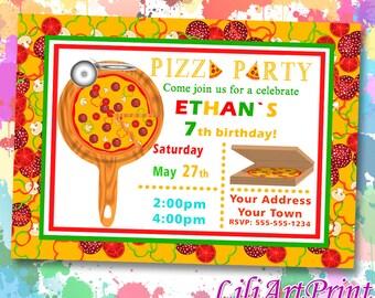 Pizza Party birthday invitation, pizza invite, pizza party birthday party, Digital file(11)