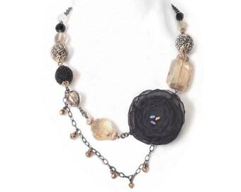 Black Chiffon Fabric Flower Necklace, Black and Gold Necklace, Unique Jewelry, Unique Flower Necklace, Statement Necklace, Art Jewelry