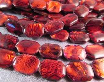 Red Abalone Shell Laminated Octagon Beads 21pcs