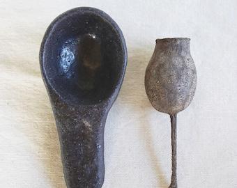Black ceramic coffee scoop