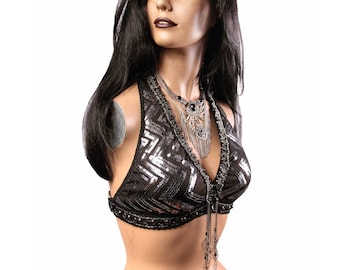 Halter, B Cup, Black with Dark Silver Sequins , Gunmetal , Bellydance, Costume, Tribal, Fusion, Gothic, Circus, Carnival, Bra