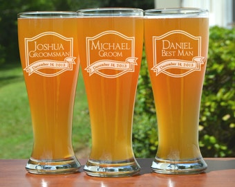 9 Groomsmen Pilsner Glasses, Personalized Beer Glass, Engraved Glasses, Beer Mug, Wedding Party Gifts, Gifts for Groomsmen, 16oz Glasses