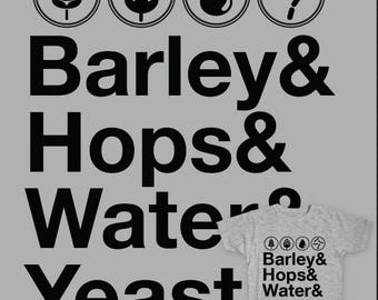 Home Brewing Shirt, Craft Beer Shirt, Funny Beer Shirt, Home Brewer Gift Barley Hops Water & Yeast, Beer Fan, Homebrewing Gift, Beer Lover