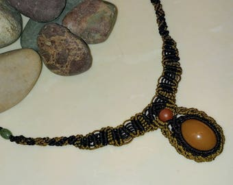 Macrame necklace with natural gemstone, gemstone necklace