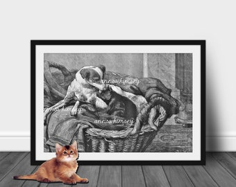 Family Room Art, Child's Room Art, Dog and Cat Art, Nurse and Patient Art Print,  Love As Only Dogs Can  #349