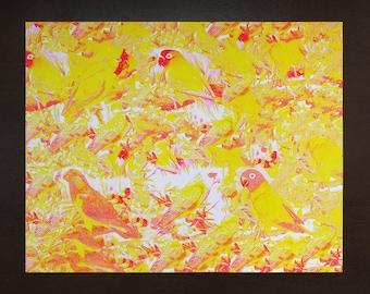 "Endangered Bird Stamp Flock #4 (2 color - flourescent pink + yellow) / 14"" x 11"" - original risograph -"