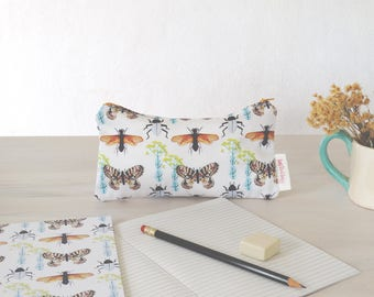 Insect & Butterfly Print Zipper Pouch, Pencil Pouch, Pencil Case, Cosmetics Bag, School Supplies, Gift For Her