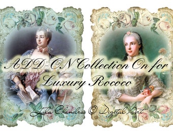 add-on Collection On for  Luxury Rococo INSTANT DOWNLOAD Art Journal Cards Scrapbooking Marie Antoinette Collage Sheet