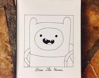 "Subpar Finn The Human Drawing Print/Adventure Time/ Cartoon Network/ Joke/ Print/ Hand-Drawn/TV/Movie/8.5"" x 11""/Thick Card Stock Paper!"