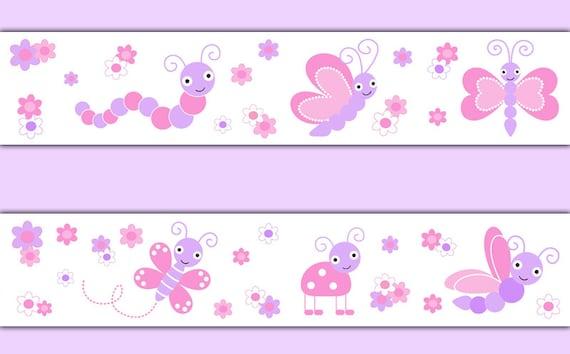 Butterfly Wallpaper Border Decal Wall Art Pink Purple Girl