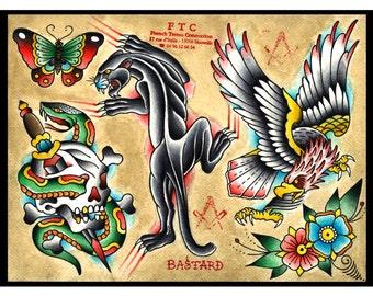 """Tattoo Flash """"PANTHER"""" PAT BASTARD"""