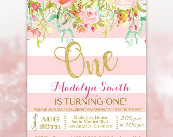 Pink and Gold Invitation - Pink Stripes First Girl Invites - ONE Birthday Invitation - PDF Editable #Onepg8713