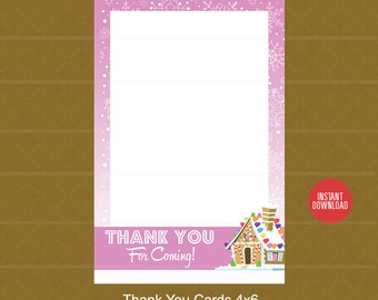 Instant Download! Gingerbread Party Thank You Card - Happy Birthday Thank You Card - Winter Holiday Birthday - Gumdrops Chalkboard