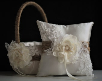 Rustic Flower Girl Basket, Burlap Ring Bearer Pillow \ Rustic Wedding Basket & Ivory Rustic Bearer Pillow, Rustic wedding pillow basket set