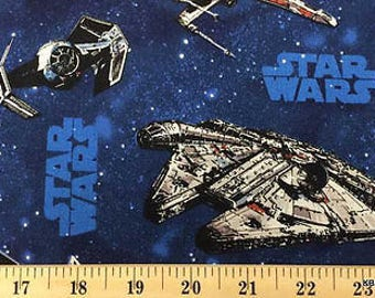 Star Wars Spacecraft Space Ships Fabric By the Yard, Half Cotton Fabric t6/37