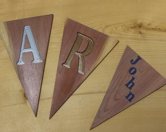 Letter and Numeral Pennants Cedar Wood Carved Pennant Signs