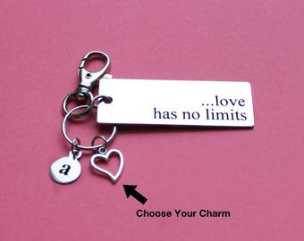 Personalized Love Key Chain Love Has No Limits Stainless Steel Customized with Your Charm & Initial - K975
