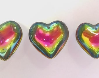 3 Vitrail Smooth 35mm Heart Chandelier Crystals Rainbow Pendants