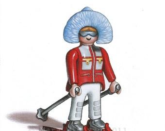 Toy Art,  Ski Girl 5 x 7 Fine Art Print, Playmobil Portrait series