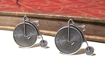 High Wheel Bicycle Cuff Links - Antiqued Silver Bike Cuff Links - Penny Farthing - Victorian - Soldered