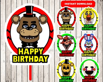 Five Nights at Freddys centerpieces, FNaF Printable centerpieces, Five Nights at Freddys party centerpieces Instant download