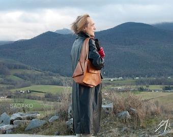 leather shoulder bag ~ origami purse ~ natural tan leather ~ vegetable tanned ~ SADAKO model ~ gift for her wild elegance ~ evening wear bag