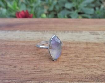 Purple Moonstone Ring Size 8 / Sterling Silver Ring / Rainbow Moonstone / Marquise Moonstone / Violet Moonstone / Moonstone Jewellery