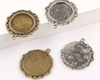 25pcs 20mm Round Cabochon Base - Antique Bronze Silver lace Cabochon Setting Pendants Trays -A3187