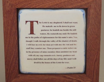The 23rd Psalm Framed Ceramic Tile