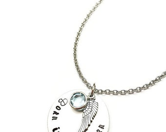 personalized memorial necklace | born into heaven | miscarriage necklace | loss jewelry | miscarriage remembrance