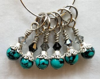 Stitch Markers. Set of 6   Turquoise & Black glass beads with Swarovski gems.