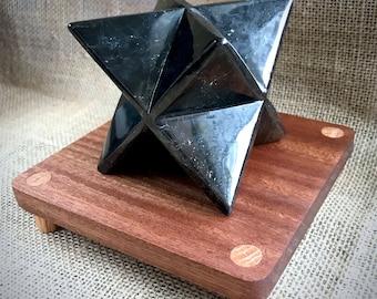 Shungite Merkaba, 75mm, EMF, Russian Shungite, EMF Protection, 8-Pointed Star, Wooden Stand, Shungite Sculpture, Divine Geometry