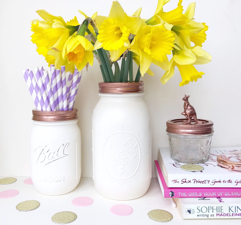 White mason ball jars white vase white makeup pot rose gold zoom reviewsmspy