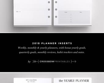 2018 Printed Planner Inserts Personal Size: Dated Personal Planner Refill | Dated Weekly Personal Planner Inserts | Monthly Planner Pages