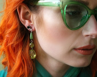 Upcycled recycled green drop jewel earrings