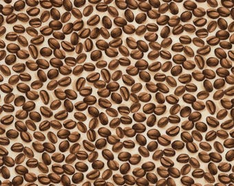 """Coffee Beans Fabric; You Choose Size; C5734; Timeless Treasures; 42/44"""" wide; Cafe Au Lait; Coffee Fabric; Java"""