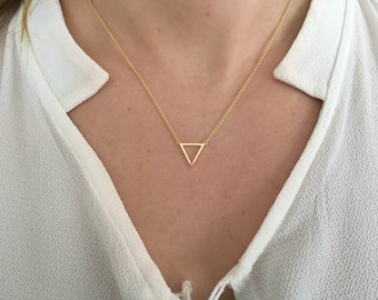 Triangle Element Necklace, Triangle Alchemy necklace, Silver Triangle necklace, Necklace triangle, Necklace water symbol