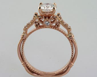 Moissanite Forever One Brilliant Diamond Free Antique style Ring. 14k Rose Gold.Moissanite ring.Rose Gold.Unique Ring.Conflict Free.Vintage.