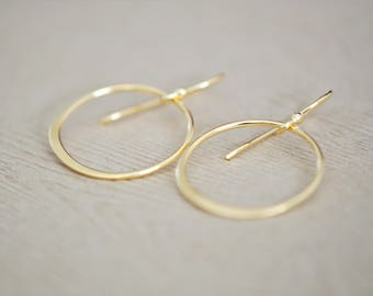 Circle Earrings - Hoop Earrings - Circle Gold Earrings - gift for women