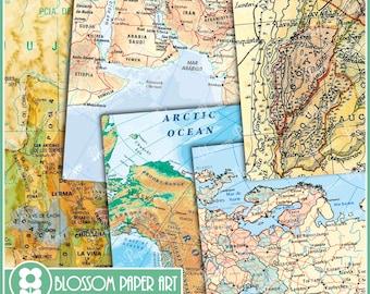 Digital Paper, Maps Digital Paper Pack Old Maps Scrapbooking, Decoupage -  Printable - DIY - 1630