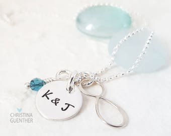You & Me to Infinity | Anniversary Birthstone Crystal | Personalized Initial Necklace | Sterling Silver Handmade USA | Christina Guenther