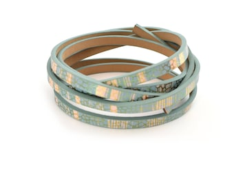 Pink Green gray and beige leather cord