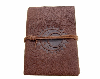 Leather book Terra Sun & Moon in Buffalo Leather - diary, journal, notebook or travel diary